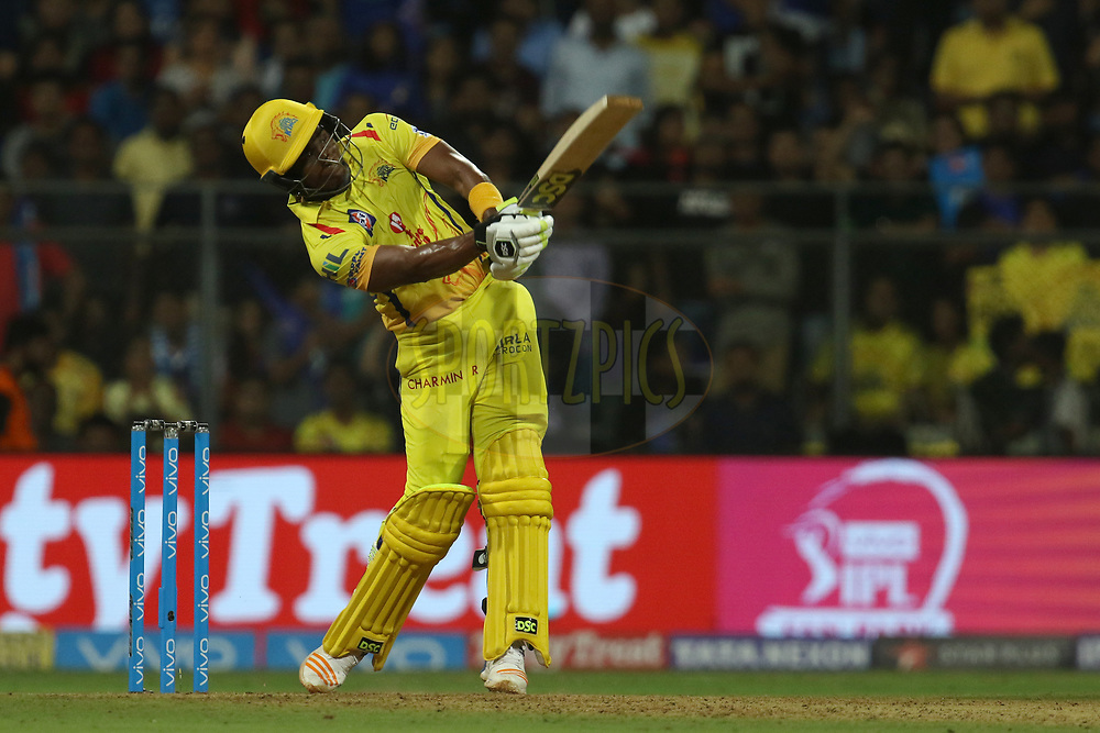 Dwayne Bravo of the Chennai Superkings  plays a shot during match one of the Vivo Indian Premier League 2018 (IPL 2018) between the Mumbai Indians and the Chennai Super Kings held at the Wankhede Stadium in Mumbai on the 7th April 2018.<br /> <br /> Photo by Faheem Hussain / IPL / SPORTZPICS