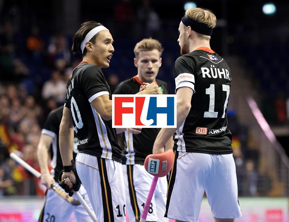 BERLIN - Indoor Hockey World Cup<br /> Men: Poland - Germany<br /> foto: Christopher R&uuml;hr and Dan Nguyen.<br /> WORLDSPORTPICS COPYRIGHT FRANK UIJLENBROEK