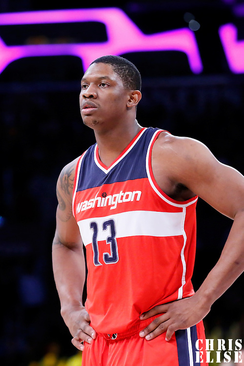 27 January 2015: Washington Wizards center Kevin Seraphin (13) rests during the Washington Wizards 98-92 victory over the Los Angeles Lakers, at the Staples Center, Los Angeles, California, USA.