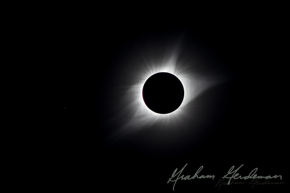 The total solar eclipse of August 21, 2017. Photographed outside Nashville, TN. The star system Regulus in the Leo Constellation is visible to the left of the corona as a small point.