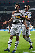Lars Stindl (c) of Borussia Monchengladbach celebrates scoring his second goal against Bayer Leverkusen during the Bundesliga match at BayArena, Leverkusen<br /> Picture by EXPA Pictures/Focus Images Ltd 07814482222<br /> 28/01/2017<br /> *** UK & IRELAND ONLY ***<br /> <br /> EXPA-EIB-170128-1318.jpg