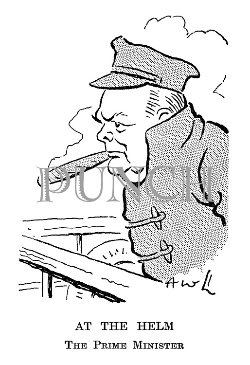 At the Helm. The Prime Minister. (cartoon showing Winston Churchill in May 1940 on the deck of a ship shortly after becoming Prime Minister)