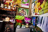 Interior decoration in a couple's dwelling, Lao Cai, Vietnam, Southeast Asia