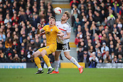Fulham defender Tomas Kalas (26) battles for possession with Preston North End attacker Jordan Hugill (25) during the EFL Sky Bet Championship match between Fulham and Preston North End at Craven Cottage, London, England on 4 March 2017. Photo by Matthew Redman.