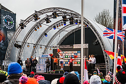 Evie RICHARDS of Great Britain on the podium after victory at the Women Under 23 race, UCI Cyclo-cross World Championships at Valkenburg, the Netherlands, 3 February 2018. Photo by Pim Nijland / PelotonPhotos.com | All photos usage must carry mandatory copyright credit (Peloton Photos | Pim Nijland)