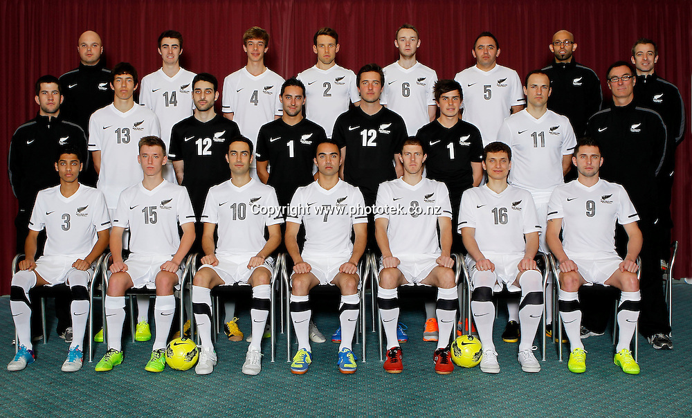 Team Photograph. Futsal Photo Shoot, North Harbour Stadium, Albany, Wednesday 19th September 2012. Photo: Shane Wenzlick