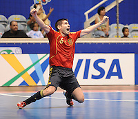 Fussball  International  FIFA  FUTSAL WM 2008   16.10.2008 Halbfinale Spain - Italy Spanien - Italien KIKE (ESP) jubelt ueber das Siegtor