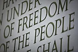 Washington D.C., USA.Carved inscription of Abraham Lincoln's Gettysburg Address, Lincoln Memorial, Washington D.C., USA.