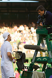 LONDON, ENGLAND - Monday, June 30, 2008: Richard Gasquet (FRA) receives a warning from the umpire during his men's singles fourth round match on day seven of the Wimbledon Lawn Tennis Championships at the All England Lawn Tennis and Croquet Club. (Photo by David Rawcliffe/Propaganda)