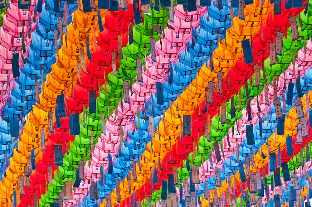 Colorful lanterns at Jogyesa Buddhist temple, Seoul, South Korea