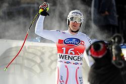 19.01.2013, Lauberhornabfahrt, Wengen, SUI, FIS Weltcup Ski Alpin, Abfahrt, Herren, im Bild Romed Baumann (AUT) im Ziel // reacts after his run of mens downhillrace of FIS Ski Alpine World Cup at the Lauberhorn downhill course, Wengen, Switzerland on 2013/01/19. EXPA Pictures © 2013, PhotoCredit: EXPA/ Freshfocus/ Urs Lindt..***** ATTENTION - for AUT, SLO, CRO, SRB, BIH only *****