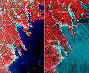 On March 14, 2011, the Advanced Space borne Thermal Emission and Reflection Radiometer (ASTER) instrument on NASA's Terra spacecraft captured an image of the north-eastern Japan coastal cities of Ofunato and Kesennuma, about 90 kilometres (55 miles) northeast of Sendai. This region was significantly affected by the tsunami that followed the March 11, 2011, magnitude 9.0 earthquake centred offshore about 130 kilometres (80 miles) east of Sendai. This before-and-after image pair reveals changes to the landscape that are likely due to the effects of the tsunami. The new image is on the left. The image on the right was acquired in August 2008. Areas covered by vegetation are shown in red, while cities and unvegetated areas are shown in shades of blue-grey. When compared closely, vegetation is no longer present in many coastal areas in the new image, particularly around Kesennuma, a city of about 73,000. The population of Ofunato is about 42,000. These changes are most likely due to the effects of the tsunami.