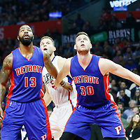 07 November 2016: Los Angeles Clippers forward Blake Griffin (32) vies for the rebound with Detroit Pistons forward Marcus Morris (13) and Detroit Pistons forward Jon Leuer (30) during the LA Clippers 114-82 victory over the Detroit Pistons, at the Staples Center, Los Angeles, California, USA.