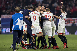 November 21, 2017 - Seville, Spain - Players of Sevilla celebrate after scoring 3-3 during the UEFA Champions League Group E soccer match between Sevilla FC and Liverpool FC at Estadio Ramon Sanchez Pizjuan (Credit Image: © Daniel Gonzalez Acuna via ZUMA Wire)