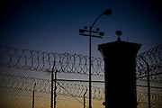 A guard tower at the overcrowded California State Prison Ð Sacramento in Folsom, California, Thursday, Dec. 7, 2006. The California prison system is so crowded that 16,000 inmates are assigned cots in hallways and gyms Ð leading Gov. Arnold Schwarzenegger to declare a state of emergency for the system.