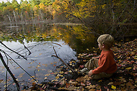 A 4-year-old boy looks at water and fall colors, Haywood Meadown, Walden Pond State Reservation. MA.