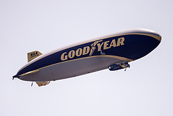 August 10, 2018 - Town And Country, Missouri, U.S - The Good Year blimp flies over the course during round two of the 100th PGA Championship on Friday, August 10, 2018, held at Bellerive Country Club in Town and Country, MO (Photo credit Richard Ulreich / ZUMA Press) (Credit Image: © Richard Ulreich via ZUMA Wire)