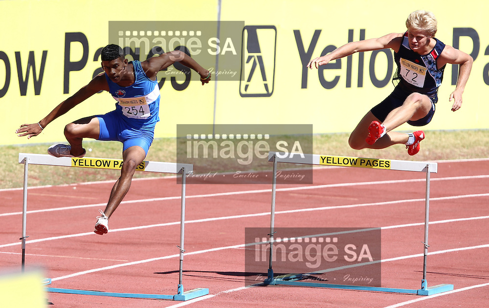 BELLVILLE, SOUTH AFRICA, Saturday 3 March 2012, Taariq Solomons (254) and Le Roux Hamman (72) in the mens 400m hurdles during the Yellow Pages Interprovincial held at Bellville Stadium stadium, outside Cape Town..Photo by ImageSA/ASA