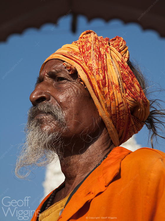 Bearded Sadhu holy man at Hindu temple in the holy city of Pushkar, Rajasthan, India