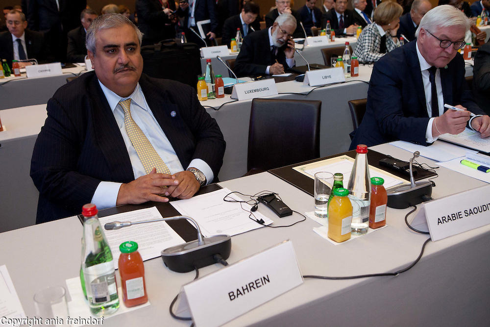 Middle east peace conference, Paris, France. Khalid bin Ahmed Al Khalifa, Bahraini diplomat and Bahrain's Minister of Foreign Affairs. More the 70 countries participated in the meeting.