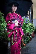 JAPAN, TOKYO -  Iroca Kimono designed by Ishikawa Narutoshi. Kimonos are colorful with jellyfish, mushroom, butterfly, goldfish. 06-2014