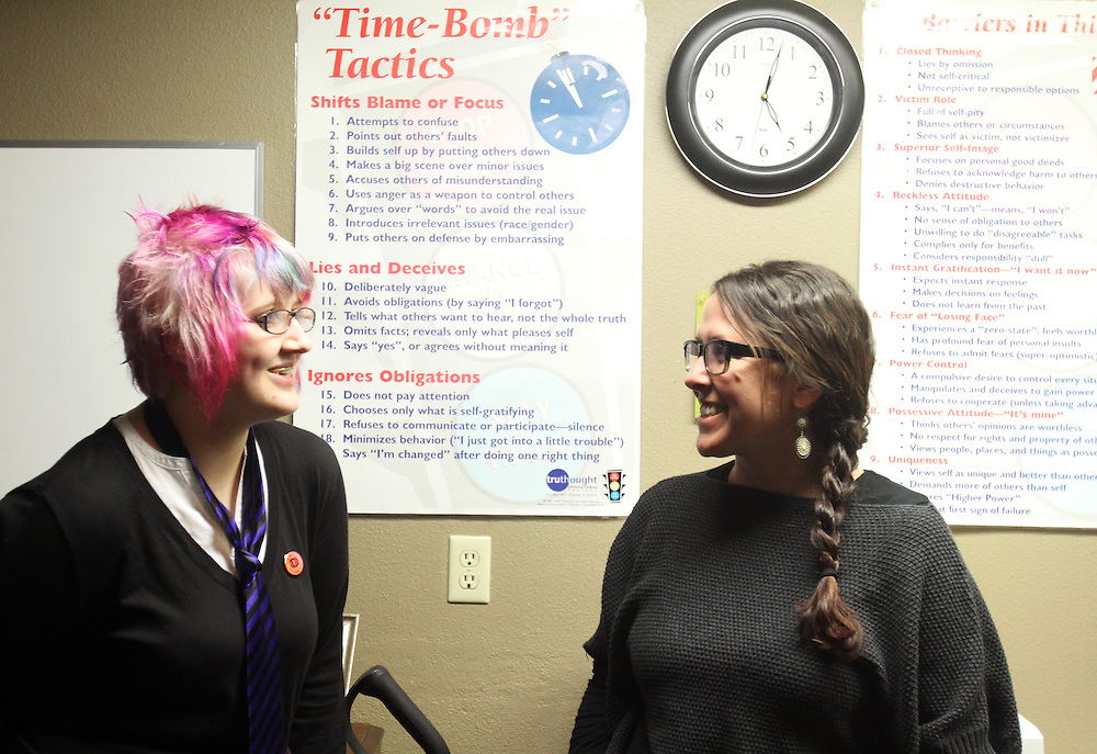 Mel Parker with Oneta, a formerly homeless young woman who has been accepted to Southern Oregon University. Oneta lives at the Cascade Youth and Family Center in Bend on Tuesday, Jan. 31, 2011.