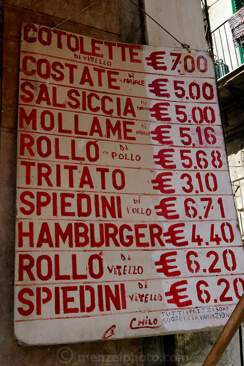 Butcher shop sign in Capo Market, Palermo, Sicily, Italy. (Supporting image from the project Hungry Planet: What the World Eats)