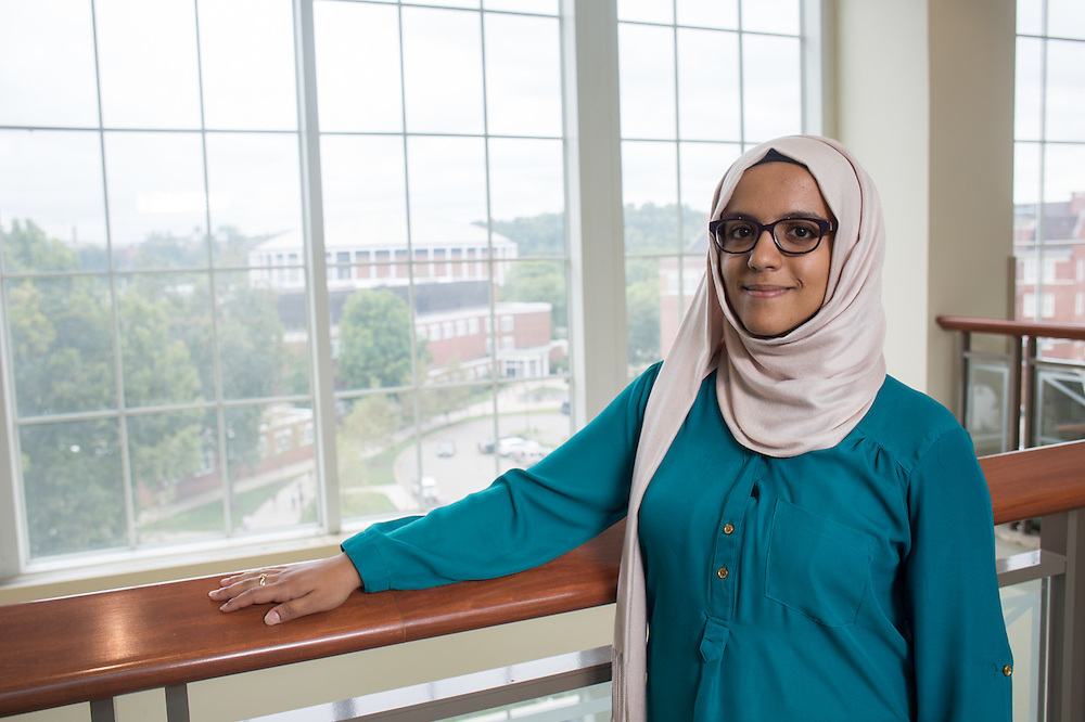 Noha Al-khalqi poses for a portrait in Baker Center on Thursday, September 10, 2015. Photo by Emily Matthews