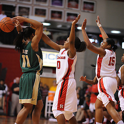 Jan 31, 2009; Piscataway, NJ, USA; Rutgers guard Epiphanny Prince (10) steals the ball from South Florida forward Porche Grant (11) in the closing moments of the first half of South Florida's 59-56 victory over Rutgers in NCAA women's college basketball at the Louis Brown Athletic Center