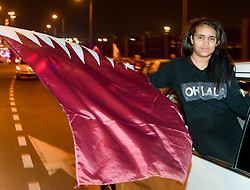Soccer fans of Qatar celebrate at Doha Corniche after their team's victory over Japan in the 2019 AFC Asian Cup final in the Qata?ri capital Doha on February 01, 2019.Qatar beat Japan 3-1 in UAE to win the AFC for the first time  (Credit Image: © Nikku/Xinhua via ZUMA Wire)