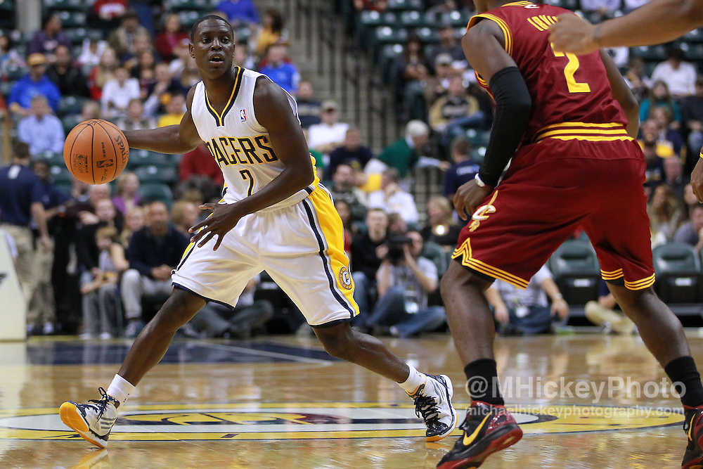 Dec. 30, 2011; Indianapolis, IN, USA; Indiana Pacers point guard Darren Collison (2) dribbles in the back court against the Cleveland Cavaliers at Bankers Life Fieldshouse. Mandatory credit: Michael Hickey-US PRESSWIRE