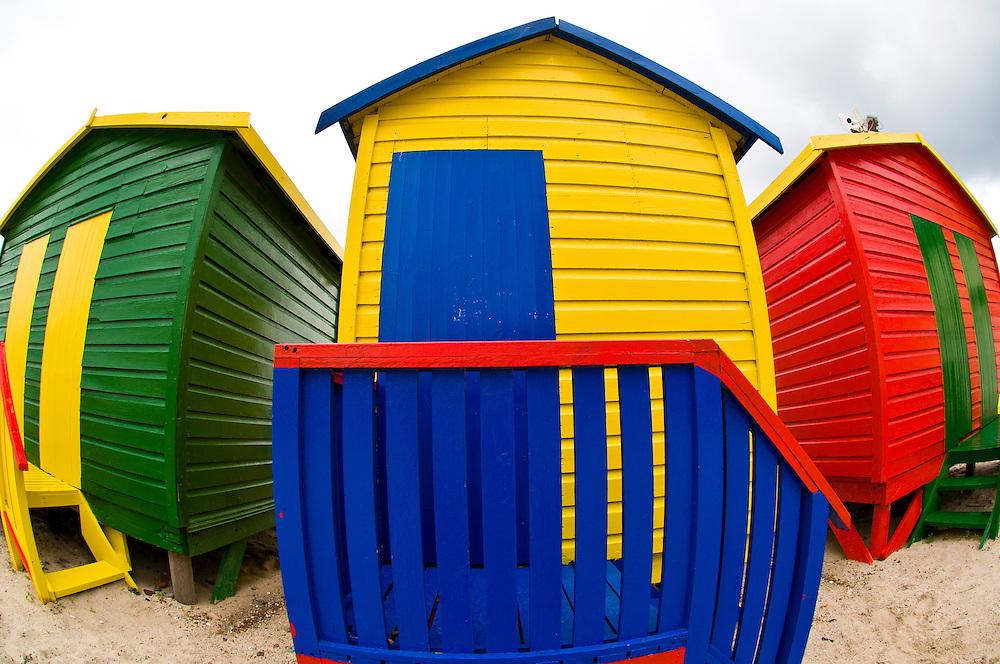Colorful beach huts, Muizenberg Beach, False Bay (near Cape Town), South Africa