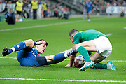 Rob Kearney (IRL), Matthieu Jalibert (FRA) during the NatWest 6 Nations 2018 rugby union match between France and Ireland on February 3, 2018 at Stade de France in Saint-Denis, France - Photo Stephane Allaman / ProSportsImages / DPPI