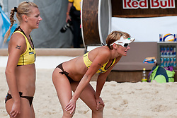 Andreja Vodeb and Martina Jakob of Slovenia at A1 Beach Volleyball Grand Slam tournament of Swatch FIVB World Tour 2010, on July 27, 2010 in Klagenfurt, Austria. (Photo by Matic Klansek Velej / Sportida)