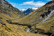 The Rees-Dart Track continues north of Rees Saddle in Mount Aspiring National Park, Otago region, South Island of New Zealand.