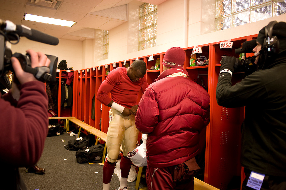 College Park, Maryland - Florida State University football player Myron Rolle suits up for his away game against the University of Maryland Terrapins...Photo by Susana Raab