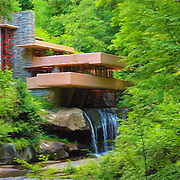 """""""Fallingwater Painterly 2"""" <br /> <br /> Beautiful Fallingwater in summertime, done with a painterly feel!"""