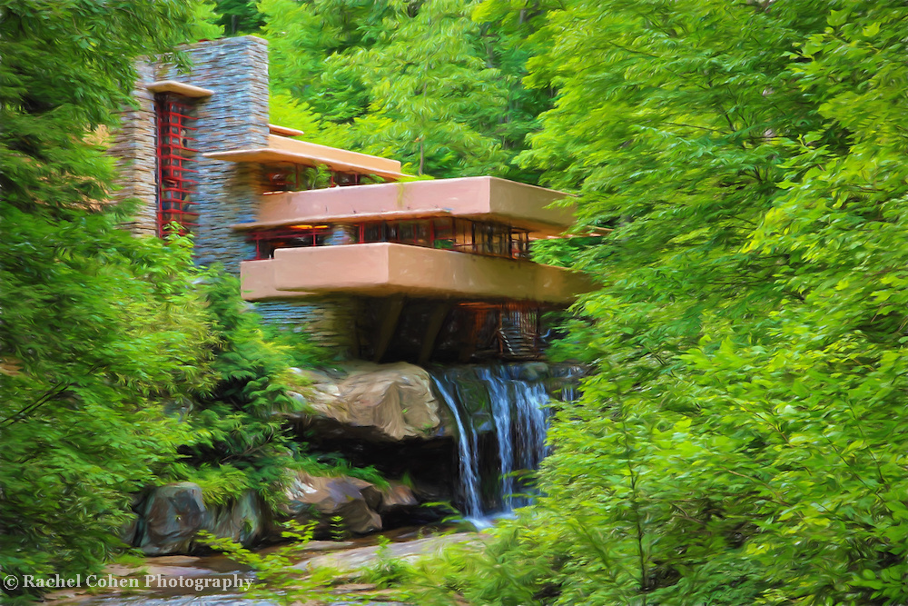 &quot;Fallingwater Painterly 2&quot; <br /> <br /> Beautiful Fallingwater in summertime, done with a painterly feel!