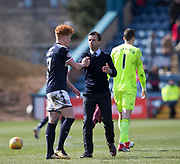 1st April 2018, Dens Park, Dundee, Scotland; Scottish Premier League football, Dundee versus Heart of Midlothian; Dundee manager Neil McCann and Simon Murray of Dundee at the end