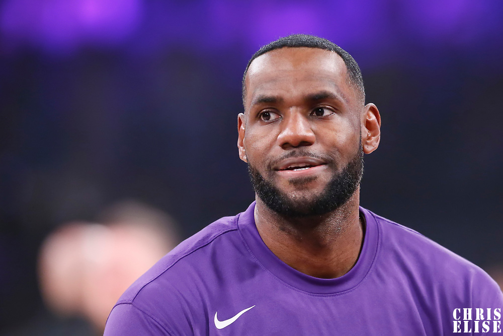 LOS ANGELES, CA - OCT 27: LeBron James (23) of the Los Angeles Lakers warms up during a game on October 27, 2019 at the Staples Center, in Los Angeles, California.