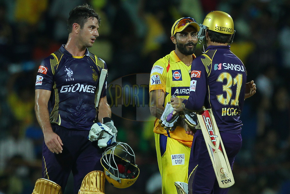 Players shake hands after the match during match 28 of the Pepsi IPL 2015 (Indian Premier League) between The Chennai Superkings and The Kolkata Knight Riders held at the M. A. Chidambaram Stadium, Chennai Stadium in Chennai, India on the 28th April 2015.<br /> <br /> Photo by:  Ron Gaunt / SPORTZPICS / IPL