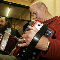 Tutor Martin O' Donoghue and Jim Maher enjoy a session in the community centre during the Cooley-Collins traditional music festival in Gort at the weekend.<br />