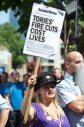 Protest march against London Fire Brigade cuts Hundreds of protesters gather in Central London to demonstrate against controversial service cuts to the London Fire Brigade which could see the closure of 10 stations,<br /> London, United Kingdom<br /> Thursday, 18th July 2013<br /> Picture by Piero Cruciatti / i-Images