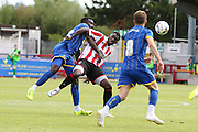 Karliegh Osbourne during the Pre-Season Friendly match between AFC Wimbledon and Cheltenham Town at the Cherry Red Records Stadium, Kingston, England on 1 August 2015. Photo by Stuart Butcher.