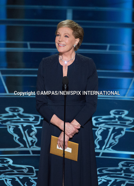 22.02.2015; Hollywood, California: 87TH OSCARS - JULIE ANDREWS<br /> during the Annual Academy Awards Live Telecast, Dolby Theatre, Hollywood.<br /> Mandatory Photo Credit: NEWSPIX INTERNATIONAL<br /> <br />               **ALL FEES PAYABLE TO: &quot;NEWSPIX INTERNATIONAL&quot;**<br /> <br /> PHOTO CREDIT MANDATORY!!: NEWSPIX INTERNATIONAL(Failure to credit will incur a surcharge of 100% of reproduction fees)<br /> <br /> IMMEDIATE CONFIRMATION OF USAGE REQUIRED:<br /> Newspix International, 31 Chinnery Hill, Bishop's Stortford, ENGLAND CM23 3PS<br /> Tel:+441279 324672  ; Fax: +441279656877<br /> Mobile:  0777568 1153<br /> e-mail: info@newspixinternational.co.uk