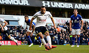 Andros Townsend scores penalty during the The FA Cup match between Tottenham Hotspur and Leicester City at White Hart Lane, London, England on 24 January 2015. Photo by Alan Franklin.