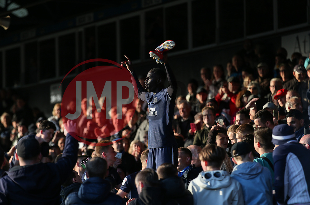 Elvis Bwomono of Southend United celebrates survival with the fans - Mandatory by-line: Arron Gent/JMP - 04/05/2019 - FOOTBALL - Roots Hall - Southend-on-Sea, England - Southend United v Sunderland - Sky Bet League One