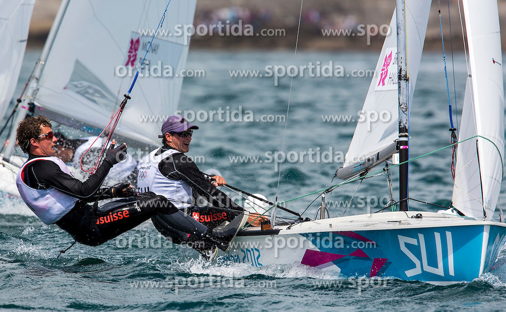 02.08.2012, Bucht von Weymouth, GBR, Olympia 2012, Segeln, im Bild Brauchli Yannick, Hausser Romuald, (SUI, 470 Men) // during Sailing, at the 2012 Summer Olympics at Bay of Weymouth, United Kingdom on 2012/08/02. EXPA Pictures © 2012, PhotoCredit: EXPA/ Daniel Forster ***** ATTENTION for AUT, CRO, GER, FIN, NOR, NED, POL, SLO and SWE ONLY!