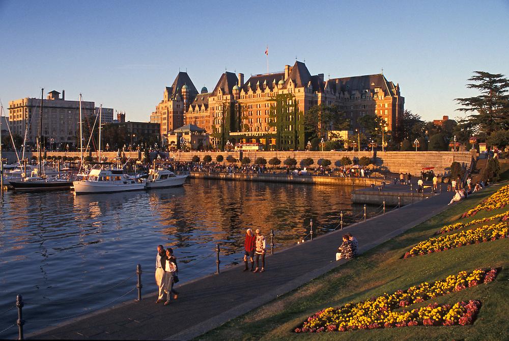 Inner Harbour promenade and the Empress Hotel; Victoria, Vancouver Island, British Columbia, Canada.