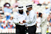 The umpires look at the ball during second day of the Specsavers International Test Match 2018 match between England and India at Edgbaston, Birmingham, United Kingdom on 2 August 2018. Picture by Graham Hunt.